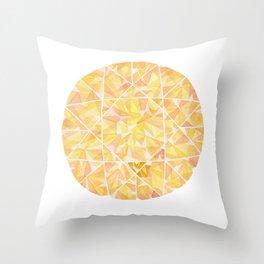 Yellow Round Gem Throw Pillow