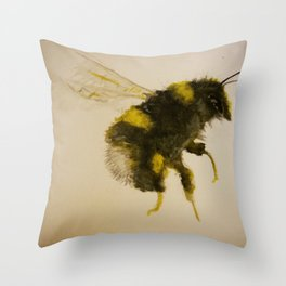 Watercolor Bumble Bee Painting Throw Pillow