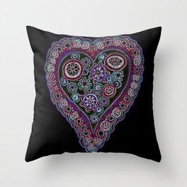 Neon Heart Throw Pillow