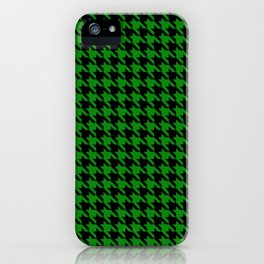 Black and Green Classic houndstooth pattern iPhone Case