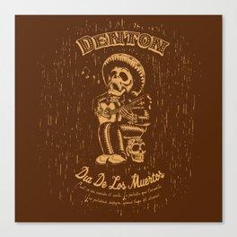 Denton Dia De Los Muertos woodcut Canvas Print