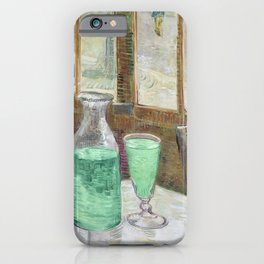 Drinking Absinthe Aperitifs in a Paris Cafe with Vincent still life portrait by Vincent van Gogh iPhone Case