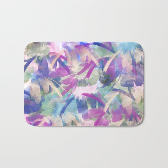 Pastel Floral Extravaganza Abstract Bath Mat