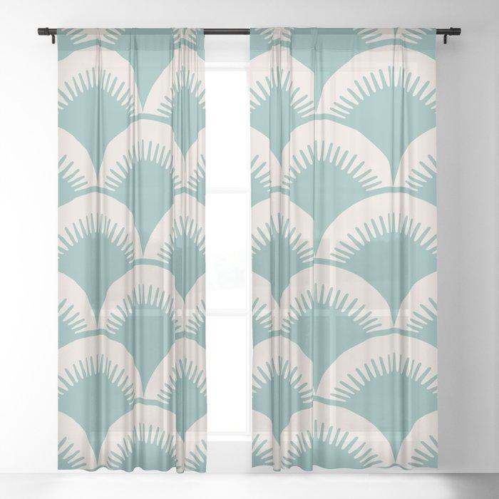 Japanese Fan Pattern Foam Green and Beige Sheer Curtain