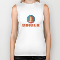 spice girls Biker Tanks featuring GINGER SPICE by Chilli Cactus