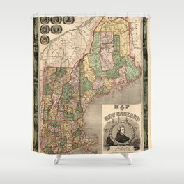 Map of New England 1847 Shower Curtain