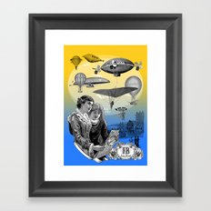 aircraft, air balloon, sky, show, vintage, engraving, cool, fancy, brand, Framed Art Print