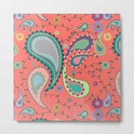Boho Paisley on Coral Metal Print