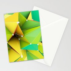 Polygons green Abstract Stationery Cards