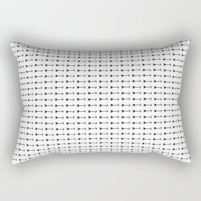 Black Arrows in White Rectangular Pillow