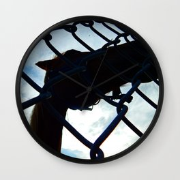 Horse at the Fence Wall Clock