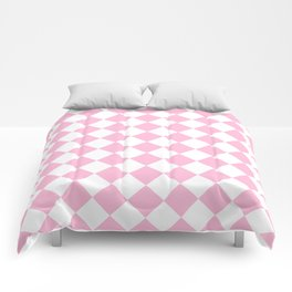 Diamonds - White and Cotton Candy Pink Comforters