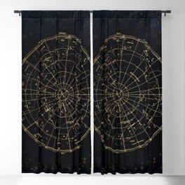 Golden Star Map Blackout Curtain