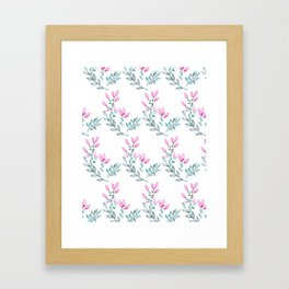 Pink and Green Watercolor  Floral Pattern Framed Art Print