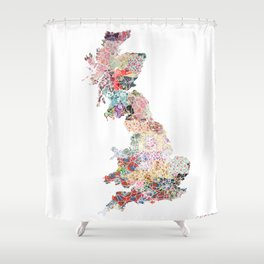 Great Britain map flowers Shower Curtain