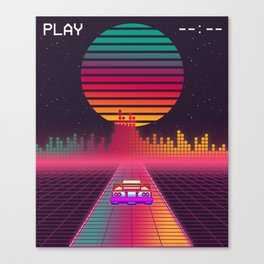 Retro 80s Cyberpunk Synthwave Sunset fast car in Outrun grid design Canvas Print