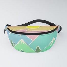 Mountain Scene | Digital Drawing | Mountains Sunset | Mountain Range Fanny Pack