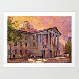 Watercolor painting of Capital building in downtown Raleigh, North Caroli Art Print