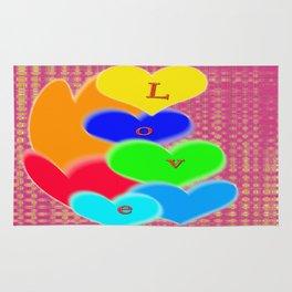 coloured love hearts Rug