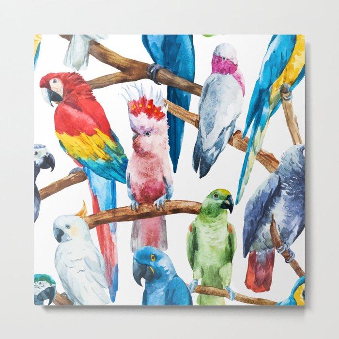 Parrot Pattern 01 Metal Print