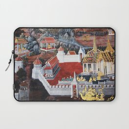 Wall painting from the Grand Palace in Bangkok, Thailand Laptop Sleeve