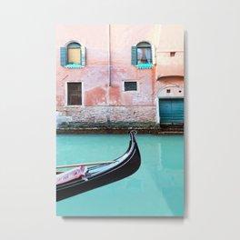 Venice In Aqua And Coral Metal Print