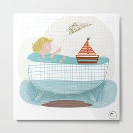 Baby Bath Metal Print