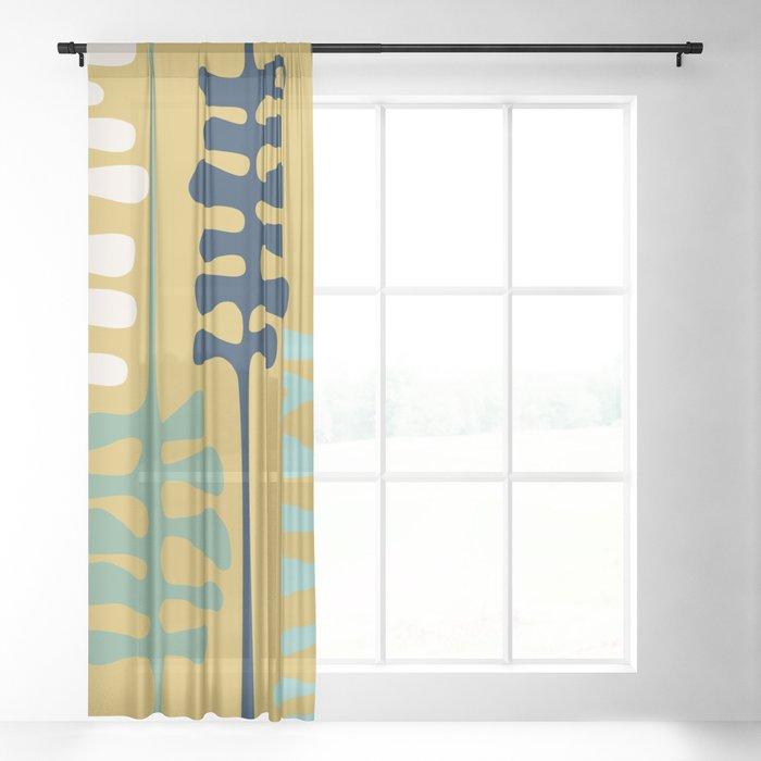 Abstract jungle - mustard Sheer Curtain