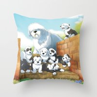 puppies Throw Pillows featuring oes puppies by Marco Barone