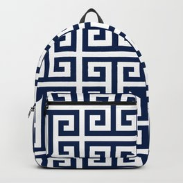 Dark Navy Blue and White Greek Key Pattern Backpack