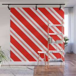 Candy Cane Stripes Holiday Pattern Wall Mural