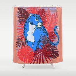 Coral Blue Cheetah Hideout Shower Curtain