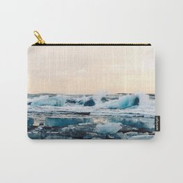 Waves Crashing on the Ice of Diamond Beach, Iceland at Sunset Carry-All Pouch