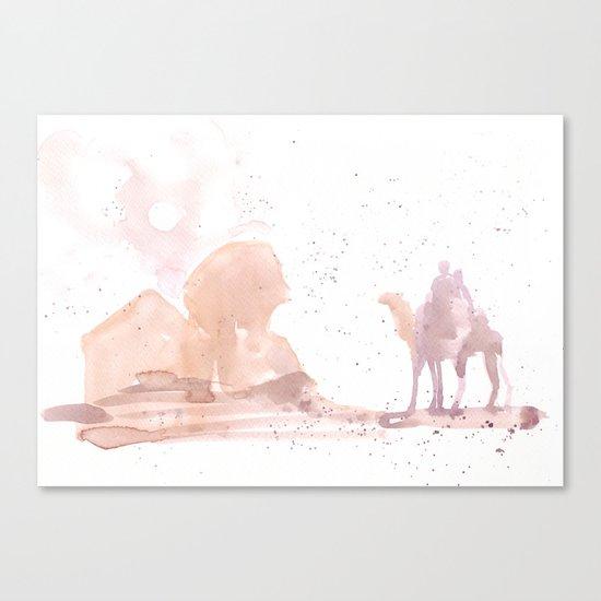 Watercolor landscape illustration_Egypt Canvas Print