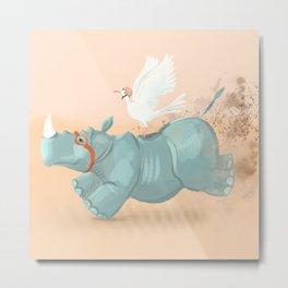 Rhino run Metal Print