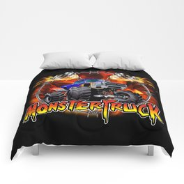 Monster Truck blue on Fire                                          Comforters
