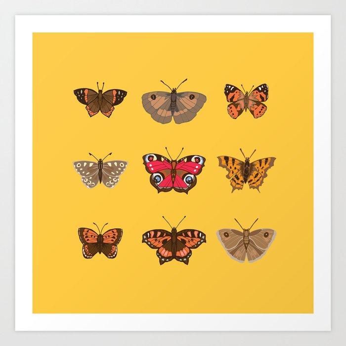 Butterflies Mounted on Yellow Art Print