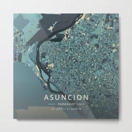 Asuncion, Paraguay - Cream Blue Metal Print