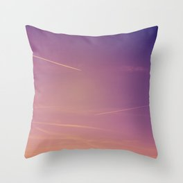 Chemtrails violet sky Throw Pillow