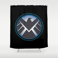 agents of shield Shower Curtains featuring Shield by livinginamovie