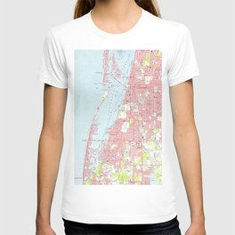 Vintage Map of Clearwater Florida (1974) T-shirt