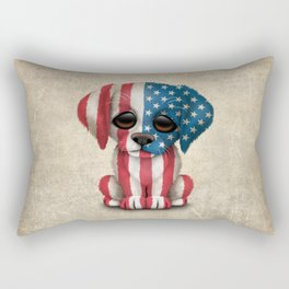 Cute Puppy Dog with flag of The United States Rectangular Pillow