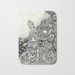 My City Driven by Fire Into the Sea Bath Mat