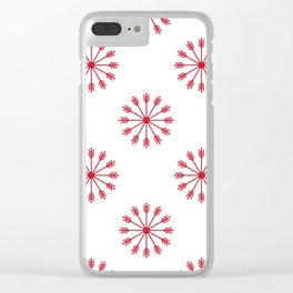 Snowflakes - white and red Clear iPhone Case