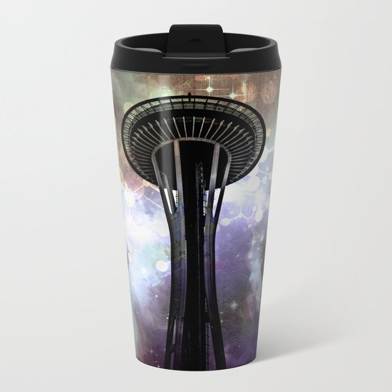 Space Needle - Seattle Stars and Clouds at Night Metal Travel Mug
