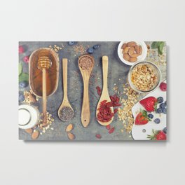 Breakfast set with granola, almond milk, superfoods and berries Metal Print