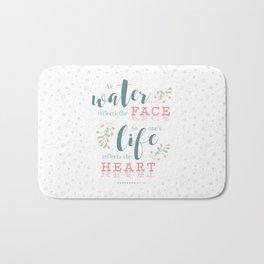 """""""Life Reflects the Heart"""" Bible Verse Print Bath Mat"""