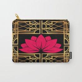 Art Deco Retro Lotus (amaranth-black) Carry-All Pouch