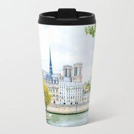 Seine River in Paris on Autumn Day Travel Mug