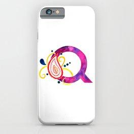Paisley monogram letter Q iPhone Case